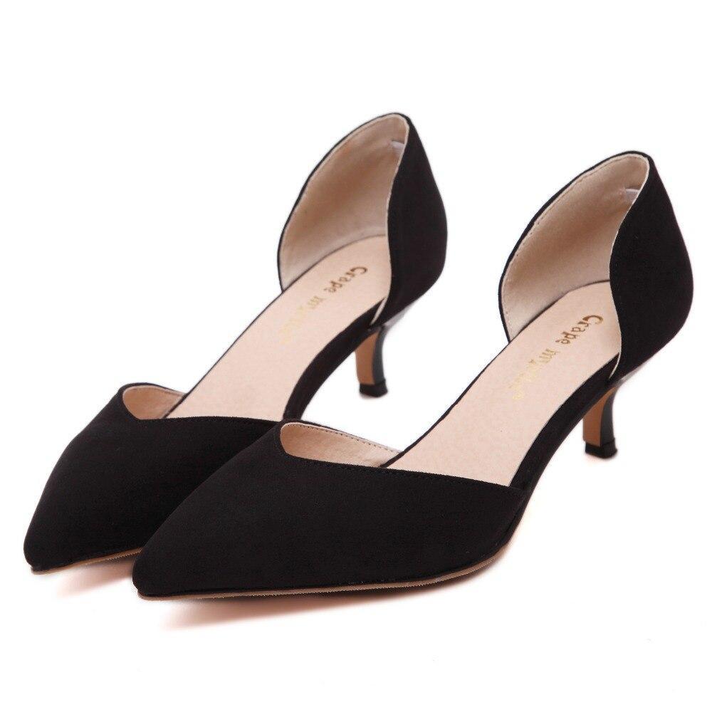 4f7bb4535a Nueva punta estrecha tacones mujeres bombas moda tacones azules mujeres  stilettos oficina zapatos de verano bajo el talón desnudo bombea los zapatos  de ...