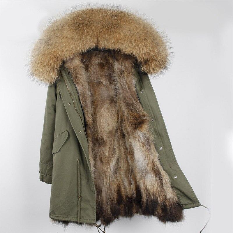 Le donne della tuta sportiva di spessore parka con naturale reale pelliccia di procione bavero del cappotto lungo con cappuccio genuino fodera in pelliccia all'interno Russia freddo inverno
