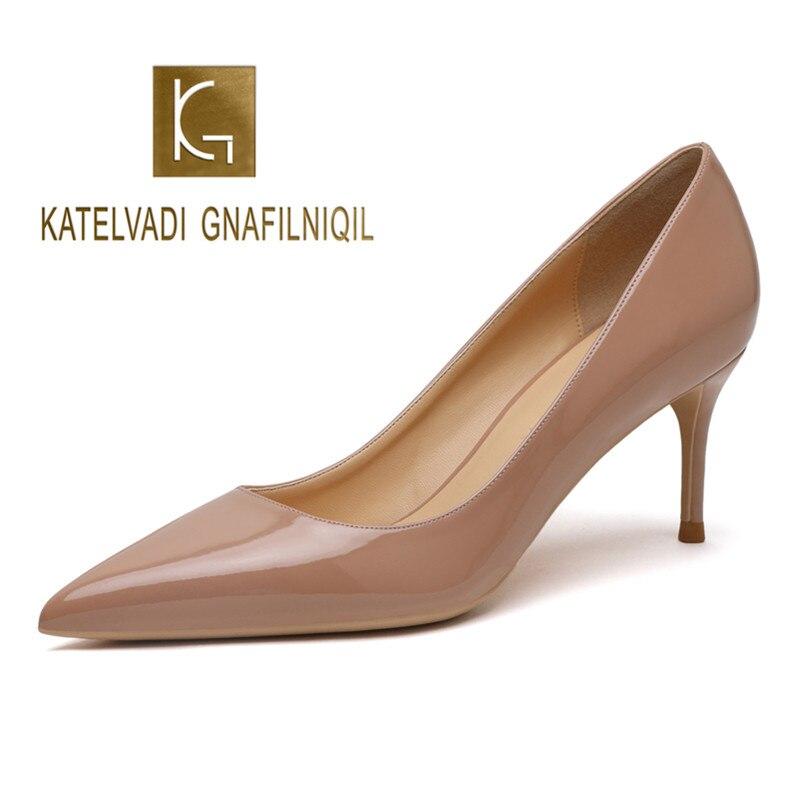 KATELVADI Beige chaussures pour femmes en cuir verni chaussures femme à talons hauts mode 6.5 CM chaussures à talons hauts, K-323