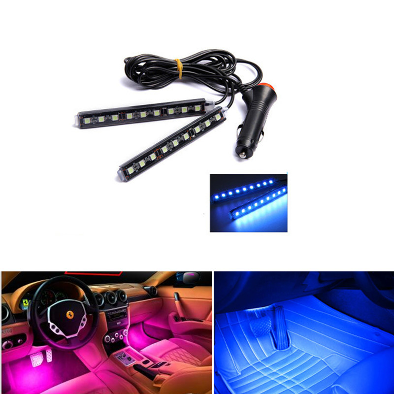Car LED Strip 2*9pcs SMD 5050 10W Car Interior Decorative Atmosphere Strip Auto Pathway Floor Light 12V car stying