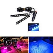 Автомобиль светодиодные ленты шт. 2*9 шт. SMD 5050 Вт 10 Вт салона Декоративные Атмосфера Авто путь пол свет 12 в автомобильный Стайлинг