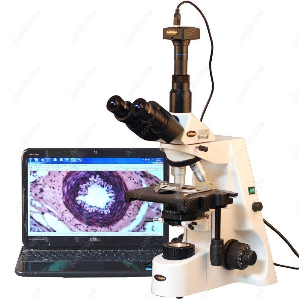 Plano Infinity Acromática Microscópio-AmScope Suprimentos 40X-2500X Plano Infinity Acromática Microscópio com Câmera Digital 10MP