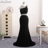 Vestidos Largos New Design Black Long Mermaid Evening Formal Gowns 2018 Sexy Open Back Mermaid Prom