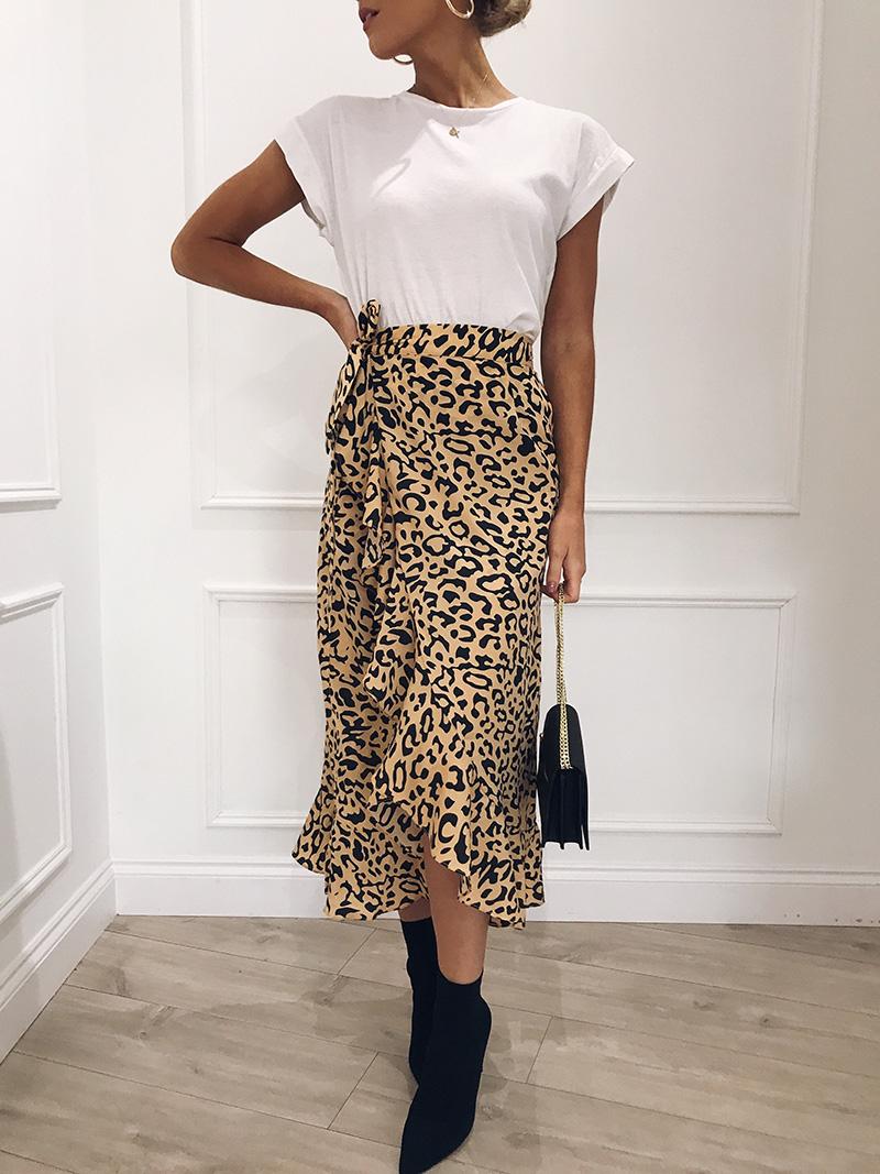 Hot Sale 19 New Slim Fashion Casual Women Leopard Print Boho Wrap Over Aysmmetric Loose Skirt Summer High Waist Midi Skirts 14