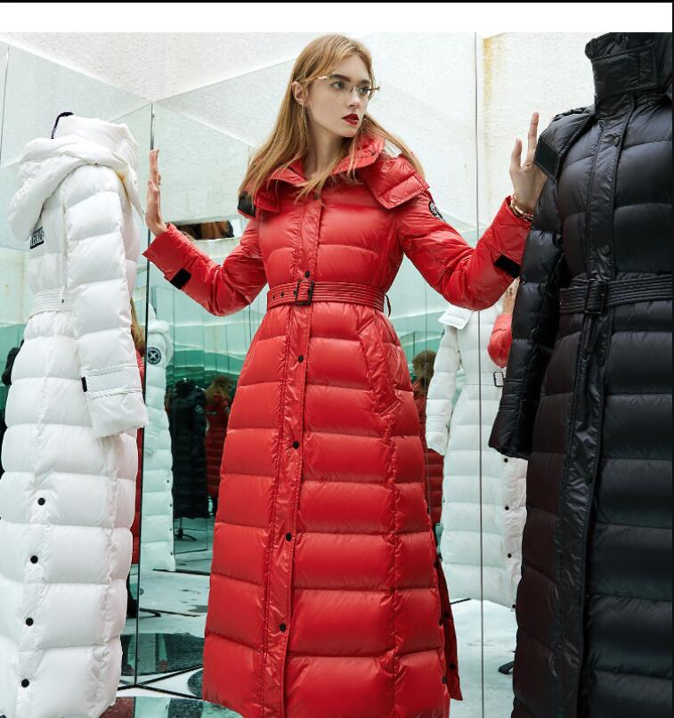 2018 new winter jacket WOMEN goose   down     coat   thickening hooded 3D slim   down   Jackets women's x-long   down     coat   outerwear parka