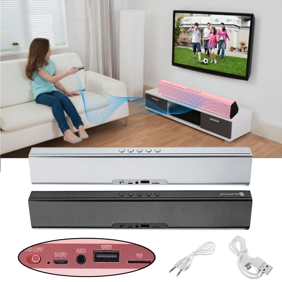 Portable Wireless Bluetooth Speaker Sound Bar 3D Stereo Surround Music TV/TF/USB/FM/AUX Outdoor Music Player Kids Child Gift getihu portable mini bluetooth speakers wireless hands free led speaker tf usb fm sound music for iphone x samsung mobile phone