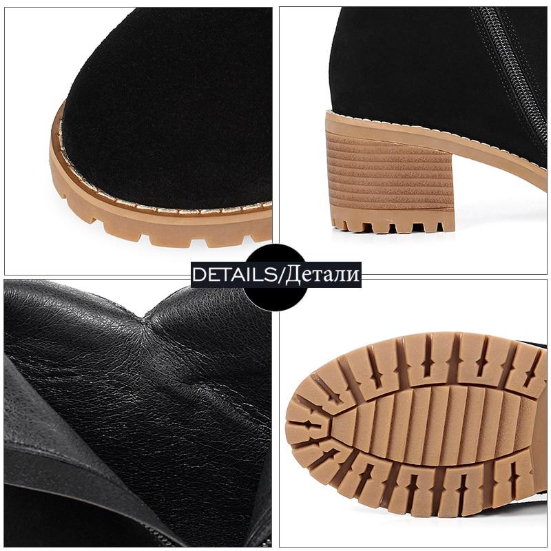 Vache Talon Dames Haute Bout Noir Femmes Épais Zipper Chaussures En Carré 2018 Boucle Rond Daim army Printemps Talons Bottes Wetkiss Green Cheville wqp7AA