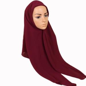 Image 4 - 115*115cm Popular High quality square size bubble chiffon shawls hijab headband wrap muslim 38 color scarves/scarf 10pcs/lot