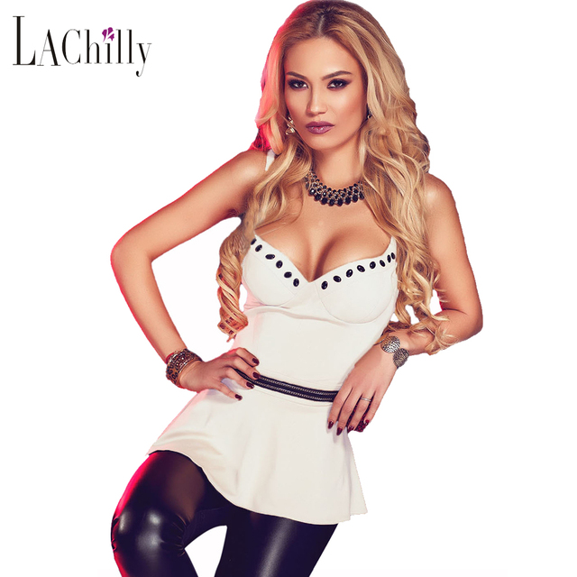 New Sexy 2017 Women camisole Summer Night Club Style Sleeveless 4 Colors Charming V Neck Flare Clubwear Top LC25763