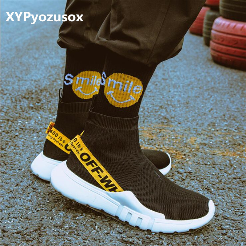 Harajuku Men Off White Hip Hop Crew Socks Smile Happy Socks Gifts For Men Cotton Male Unisex Couples Funny Hiphop Skate Socks