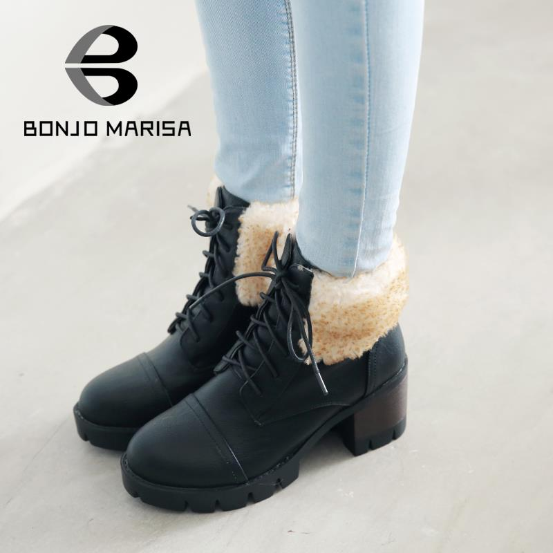 ФОТО Snow Boots Women 2015 Leisure Lace Up Ankle Boots Mid Square Heels Fashion Round Toe Platform Outdoor Short Shoes Boots