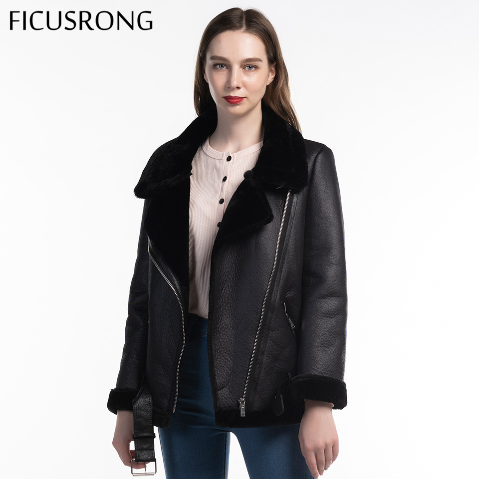 Winter Faux Lamb   Leather   Jacket Women Faux   Leather   Lambs Wool Fur   Suede   Jacket Coats Female Warm Thick Outerwear FICUSRONG