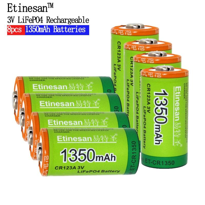 8pcs/lot Etinesan 1350mAh Cr123a 3v lithium battery 16340 3.0V camera lithium rechargeable battery flashlight Toys battery