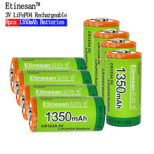 8pcs/lot Etinesan 1350mAh Cr123a 3v lithium battery 16340 3.0V camera rechargeable flashlight Toys