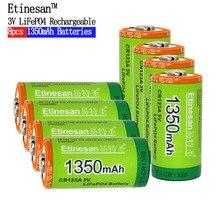 8pcs Etinesan Cr123a 3v LiFePO4 lithium batteries Li-Po 16340 3.0V li-ion li-pol