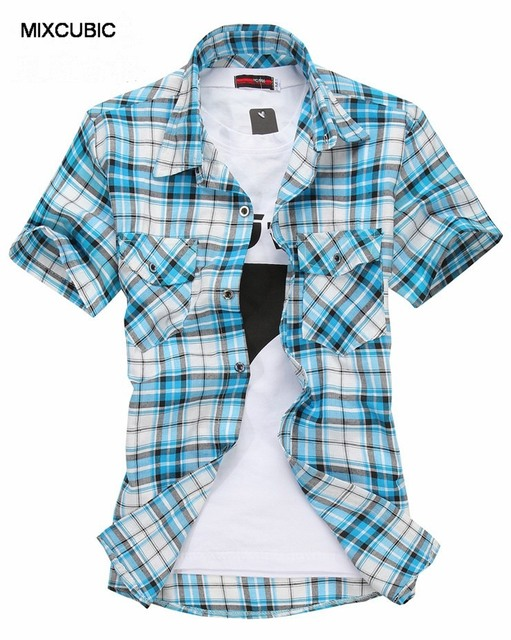 MIXCUBIC 2016 new Fashion Double pocket plaid short-sleeved shirts men casual slim fit shirts for men checked shirts men,M-XXXL