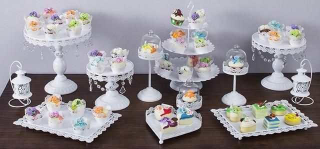 12pcs/set White Wedding Cake Stand Metal Cupcake Display Party ...