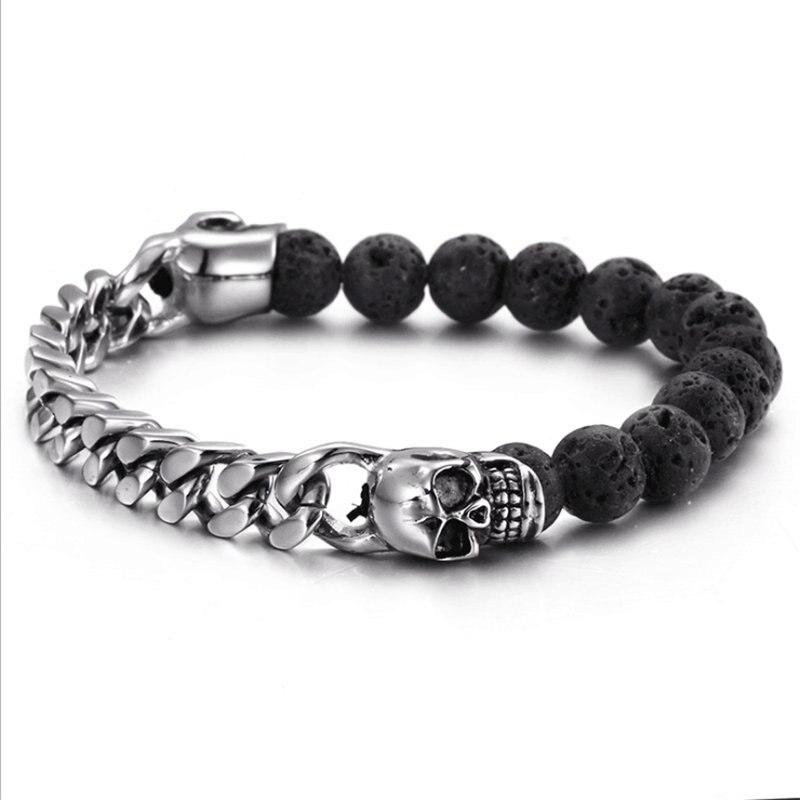 Stainless Steel Skull Bracelet Bangles Men Women Charm Bracelet Pulseras Volcanic Stone Beaded Bracelet Gift