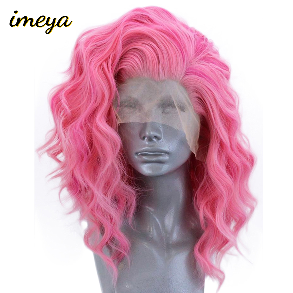 Wigs Short Heat-Resistant Lace-Front Glueless Pink Synthetic Imeya High-Temperature Wave