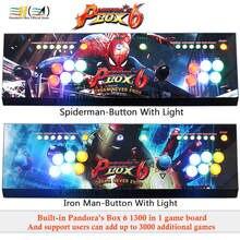 Kotak Pandora 6 1300 Di 1 Arcade Konsol Game Joystick Controller Lampu LED Tombol Dukungan FBA MAME PS1 3D Tekken mortal Kombat
