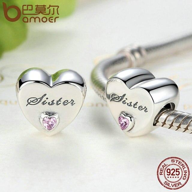 BAMOER Regalo Di Natale 100% 925 Sterling Silver Amore della Sorella, rosa CZ Fascini misura il Braccialetto Beads & I Makings PSC025