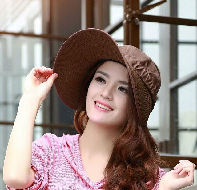 2015 nuevas mujeres de verano de sol y gorra sombrero de paño de paja sombrero de visera doblar costura MS ULTRAVIOLETA grande casquillo de la playa sombrero arco sombreros de señora