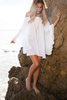 2017 New Hot Sale Summer Sexy Loose Dress Large Flare Sleeve White Dress Bohemian Beach Mini