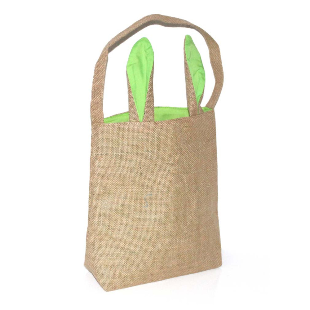Easter Bunny Ear Bag Jute Holiday Tote Handbag Celebration C