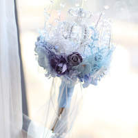 Iffo high blue crown ice bride holding bouquet style crystal bouquet smoke gray cloth