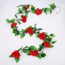 245 CM/lot Silk Roses Green Leaves Fake Plants Home Wedding Decoration Leaf Diy Hanging Garland Artificial Flowers