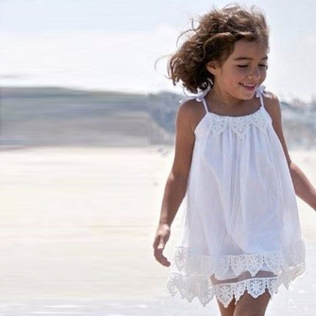 Vestidos de playa blanco para ninas