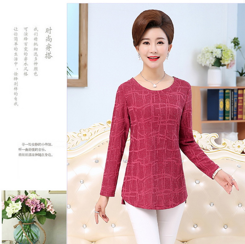 WAEOLSA Autumn Woman Basic Tops Red Khaki Green Knitted Blouses Middle Aged Womens Round Collar Tunic Mother Casual Blouses Plus Size Tops (6)