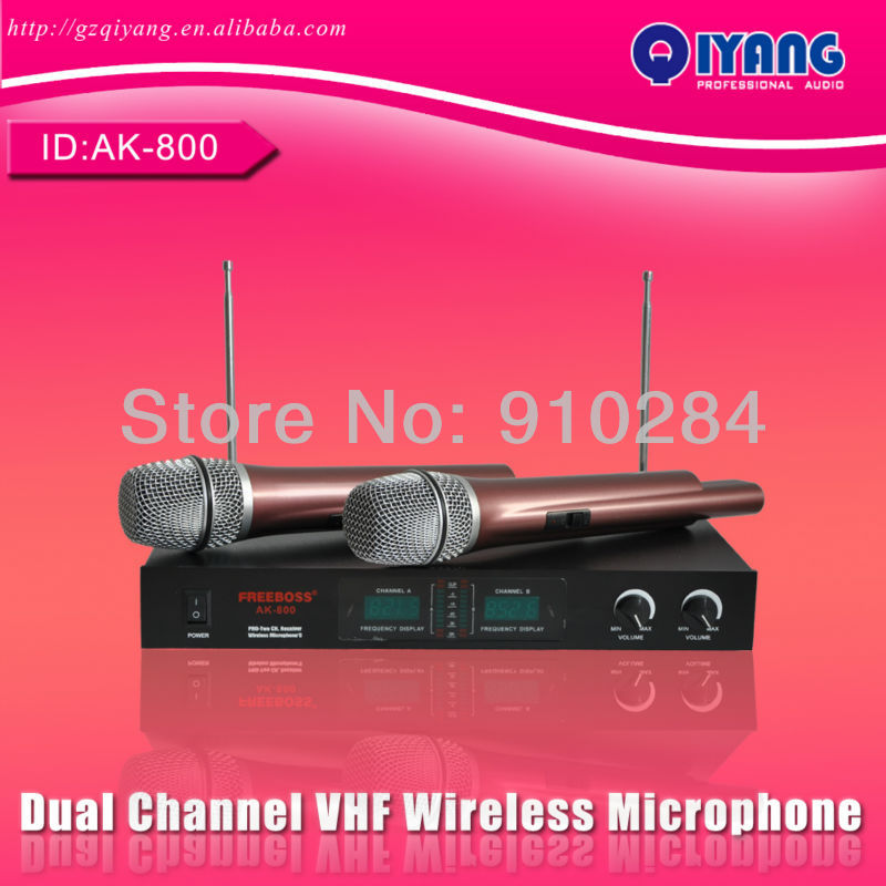 все цены на High quality Dual Channel cheap professional ktv karaoke VHF Wireless Microphone system AK-800 онлайн