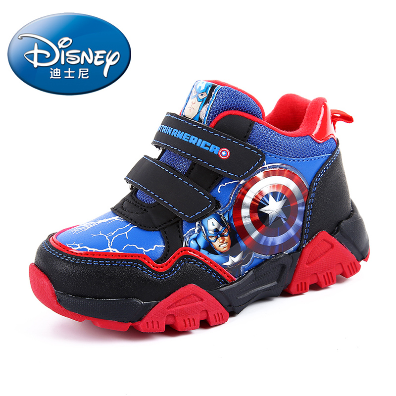 Disney Children's The Hulk Iron Man Cartoon Pattern Shoes Sneakers Captain America Spider-Man Boys Fashion Casual Shoes DS0909 100% genuine disney fashion children watches for boys students captain america iron man leather watch strap luxury brand design