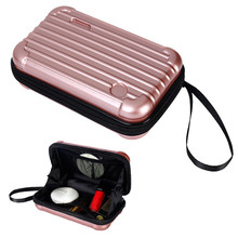 Women Cosmetic Bag Overnight Package Solid Color Mini Trunk Shaped Makeup  Cases Wash Toiletries Bags( 4b2515af06058