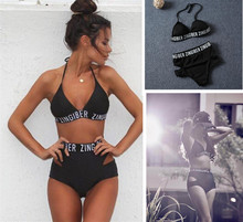 Zingiber lettering high waist elastic bikini soft removable bra pad swimwear balck bandage print letter sexy swimsuit bodysuit