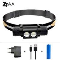 ZPAA CREE XML Dual T6 L2 USB Rechargeable LED Headlamp Headlight 5 Modes Dimming 18650 USB
