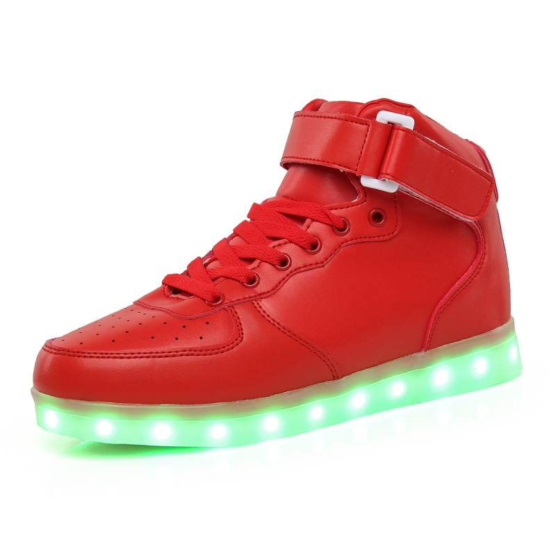 Children High Shoes 7 Colorful LED Lights With USB Youth Rechargeable - Children's Shoes