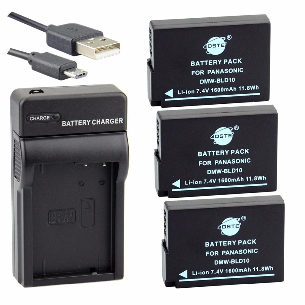 DSTE 3PCS DMW-BLD10E Battery + UDC115 USB Port Charger for Panasonic DMC-G3 DMC-GX1 DMC-GF2 Camera battery 2 pack charger for panasonic dmw blh7 dmw blh7e dmw blh7 blh7e and lumix dmc gm1 gm5 gf7 dm cgm7 digital camera