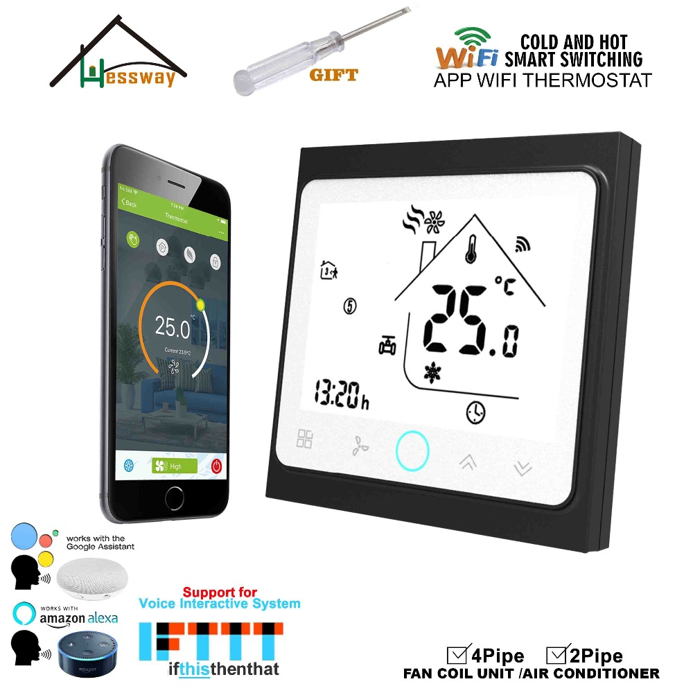 HESSWAY 2P4P cool heat wifi touch screen room thermostat Google Home Amazon Echo Tmall Genie IFTTT
