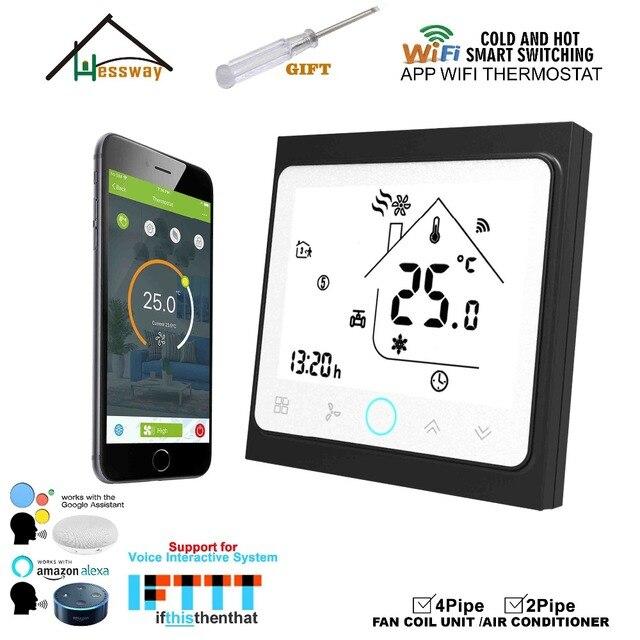 HESSWAY 2P4P bien calor wifi pantalla táctil termostato Google Amazon Echo Tmall genio IFTTT para control de la válvula del ventilador