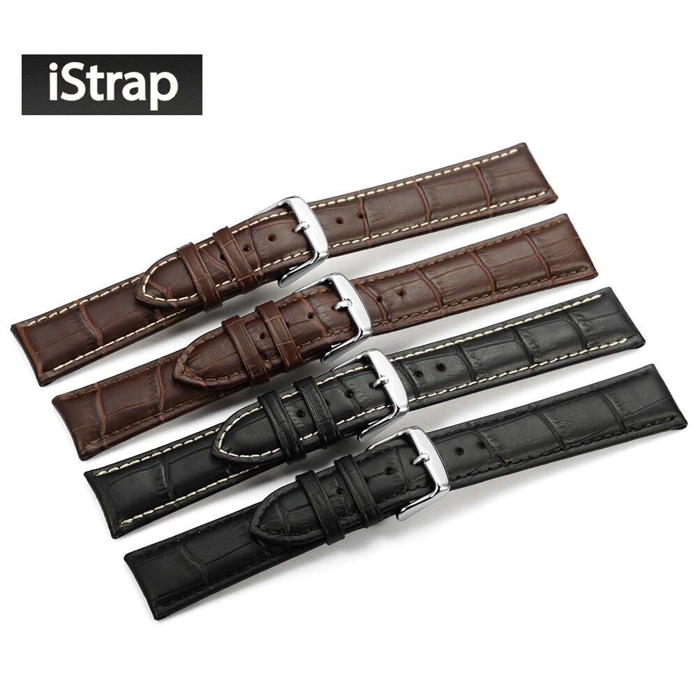 Prix pour IStrap 12 13 14 16 18 19 20 21 22 24mm Alligator Sangle De Grain En Relief Véritable Bande de Montre En Cuir pour Tudor Bracelet pour Hamilton