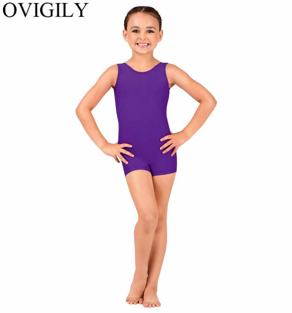 OVIGILY dla dzieci rozciągliwy zbiornik Biketards gimnastyka Shortall dla małych dziewczynek bez rękawów Shorty Unitard stroje chłopiec sportowe kostium