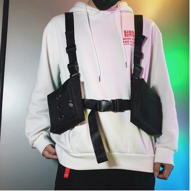 Hip Hop Chest Rig Bags Unisex Streetwear Bags Multi-pockets Waistcoat Chest Bags Waist Packs Fanny Heuptas Sac Banane Kanye West