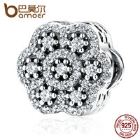 BAMOER Authentic 925 Sterling Silver Flower Charm With AAA Clearly Zirconia Charms Fit Women Bracelets Fashion