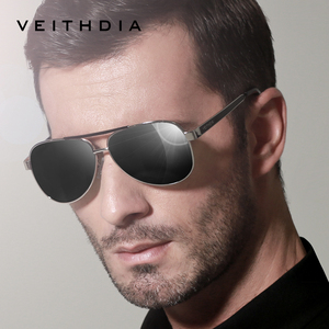 Image 2 - VEITHDIA lunettes de soleil pour hommes, verres en acier inoxydable, lentille verte polarisée, accessoires lunettes, 3152