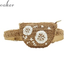 цена на Caker Brand 2019 Women Half circle Straw Waist Bag Fashion Embroidery Flower Waist Pack Wholesale Drop Shipping
