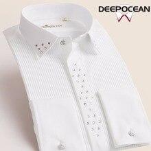 Deepocean גברים מוצק חולצות בציר אופנה גברים חולצות ארוך Slim Fit חולצות חדש מקרית כותנה חולצות Camisa Masculina X55545L