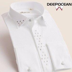 Image 1 - Deepocean, мужские однотонные рубашки, винтажные Модные мужские топы, Длинные облегающие рубашки, Новые повседневные хлопковые рубашки, Camisa Masculina X55545L