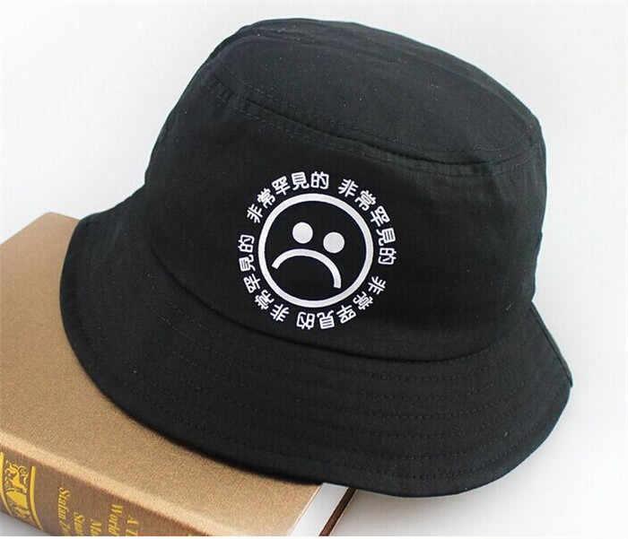 b4bf6e34149 ... new Flat Fishman Hat Summer KYC Vintage Black Bucket Hat Sad Boys Men  Women Hip Hop